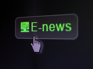 News concept: E-news and Computer Pc on digital button
