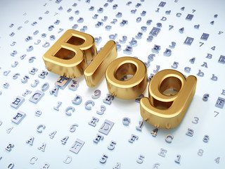 SEO web design concept: Golden Blog on digital background