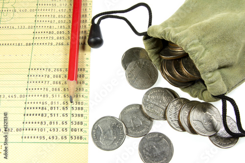 coin in  cloth bag and bank account