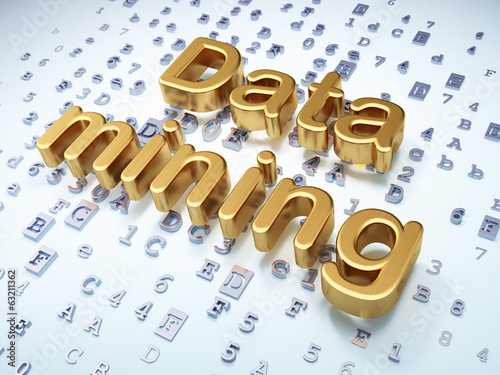 Information concept: Golden Data Mining on digital background