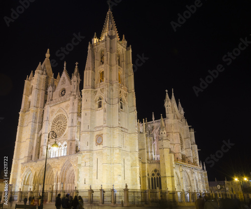 Leon cathedral by night