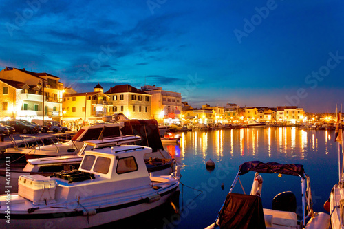 Town of Vodice evening harbor view