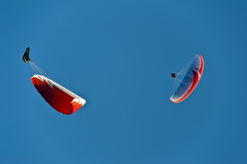 parachute glider in the sky