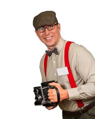 Paparazzi photorapher with antique camera