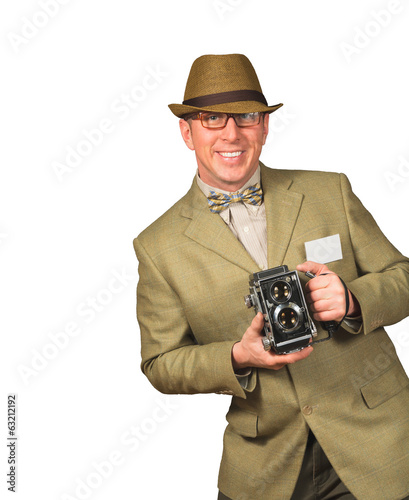 Photographer with antique camera
