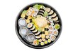Traditional Japanese food. Sushi set takeaway