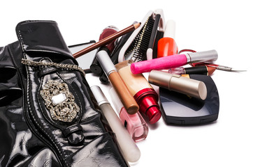 handbag and cosmetics