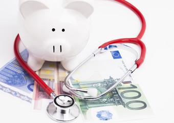 Stethoskop Geld Sparschein