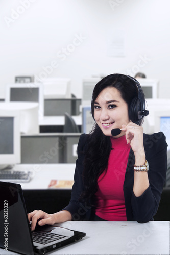 Female customer support at office