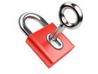 metallic key in red padlock