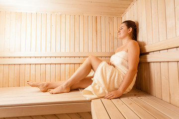 Portrait of relaxing women in wooden sauna