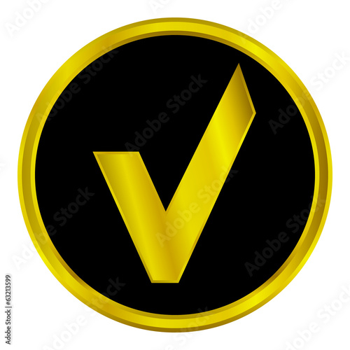 Gold yes sign button