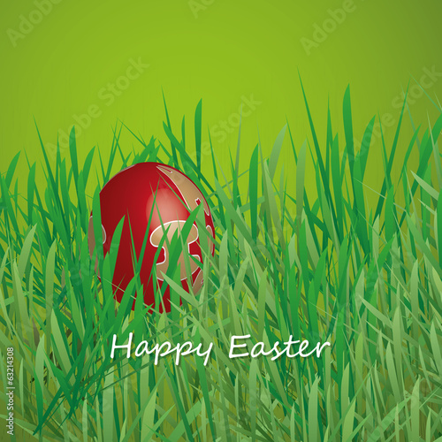 Happy Easter Card - Easter Egg Hidden in the Grass