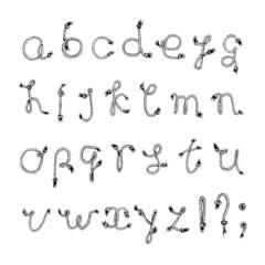 Hand drawn alphabet - Rope or String . Handwritten font.