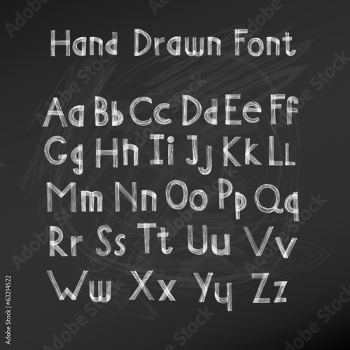 Hand drawn alphabet. Handwritten font. Vector Illustration