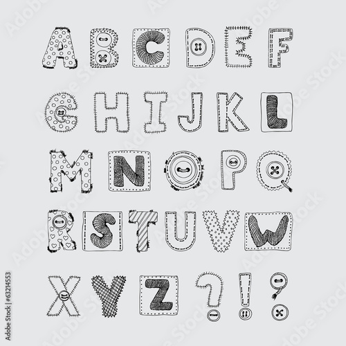 Hand drawn scrapbook alphabet. Handwritten font.