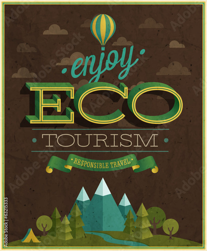 Eco Travel poster. Vector illustration.