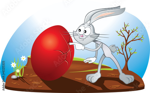 Curious Easter Bunny Vector Cartoon