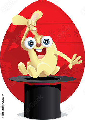 Magic Easter Bunny Vector Cartoon