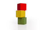 toy wooden blocks stack, tower of blank multicolor box cube