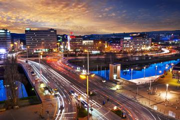 Saarbrücken Nachtaufnahme Panorama abends