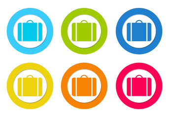 Set of rounded icons with suitcases symbol