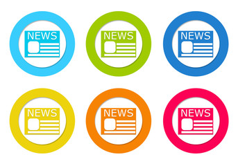 Set or rounded icons to symbolize news