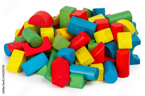 Toy blocks, multicolor wooden building bricks heap