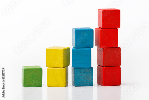 Toy wooden blocks as increasing graph bar, infographic diagram