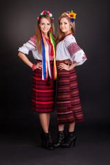 Young women in ukrainian clothes