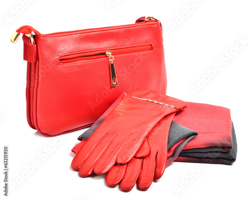 Stylish woman red  bag, gloves and a scarf - 63215930