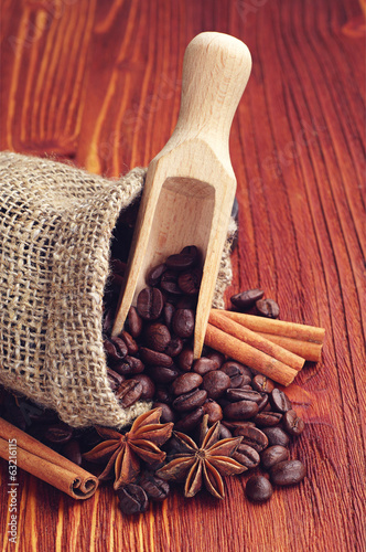 Coffee beans, cinnamon and anise