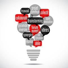 nuage de mots bulles ampoule : brainstorming (cs5)
