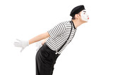 Male mime artist gesture kissing