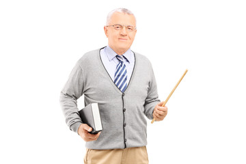 Male teacher holding stick and a book