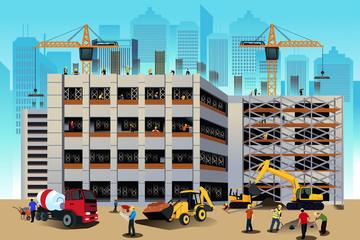 Building construction scene