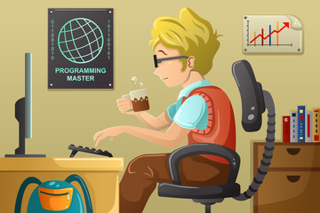 Computer programmer working on his computer