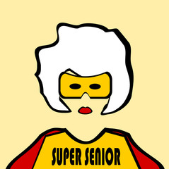 superhero grandma with cape and mask