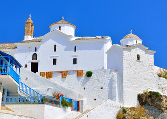 White church above Skopelos town, Greece