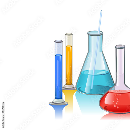 Colored laboratory flasks glassware template