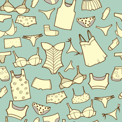 Vector hand drawn set with woman panties and underwear