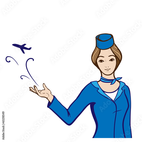 Stewardess in uniform showing an abstract plane