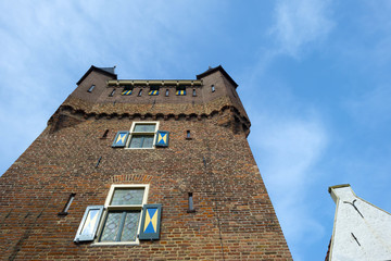 Old tower points into the sky in spring
