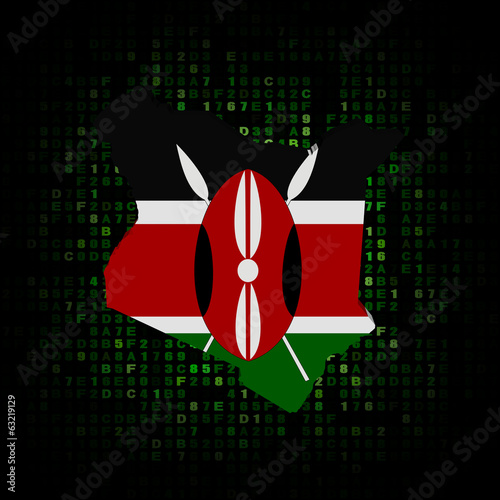 Kenya map flag on hex code illustration