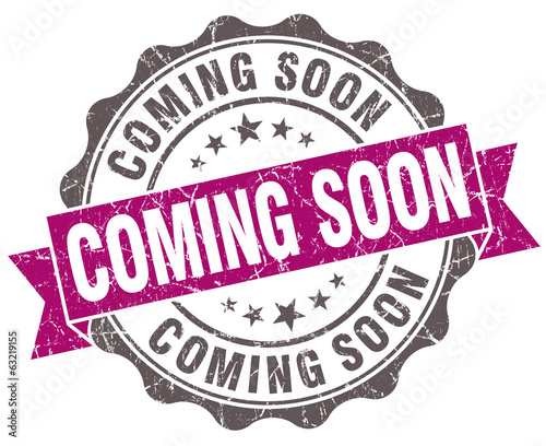 Coming soon violet grunge retro style isolated seal