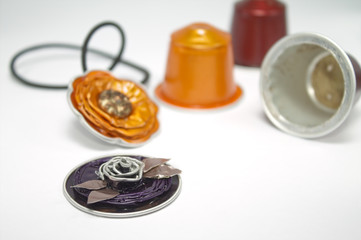 DIY jewelry made with espresso capsules