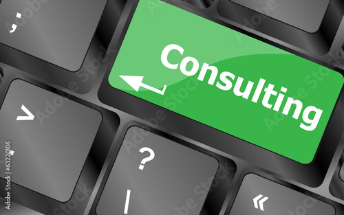 keyboard with key consulting, business concept