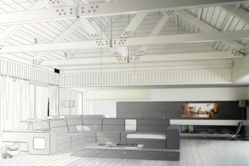 Sanierte Landhaus Architektur (Zeichnung)