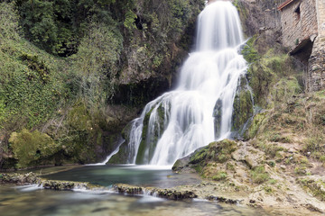 waterfall in orbaneja del castillo