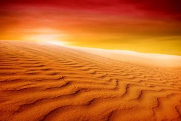 Sand dunes at sunset in the Sahara Desert